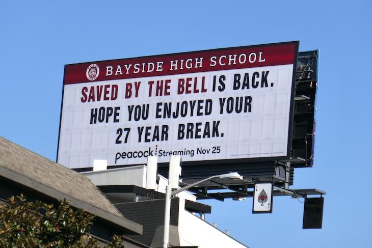 Saved by the Bell 27 year break billboard