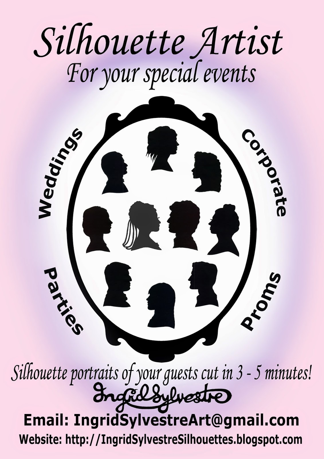 Fun Wedding ideas. Wedding Day Entertainment Ideas. Unique ideas for Wedding Reception Entertainment. Great ideas for unusual wedding day entertainment. Wedding event ideas for entertainment during reception. Unusual interesting fun Wedding planning ideas.  Silhouettes hand cut in 3 - 5 minutes by UK silhouette artist Ingrid Sylvestre