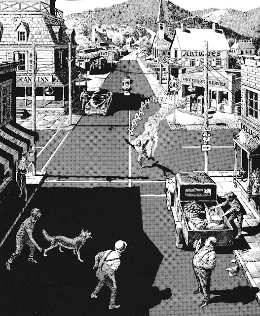Reed Crandall horror Creepy Eerie 1960s, a gas station accident