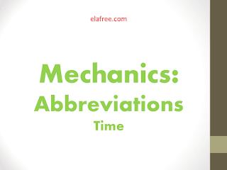 Mechanics: Abbreviations - Time