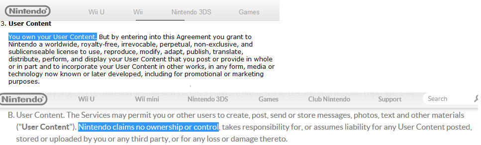 You own your User Content. Nintendo claims no ownership.