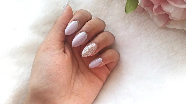 lilac and silver nail art