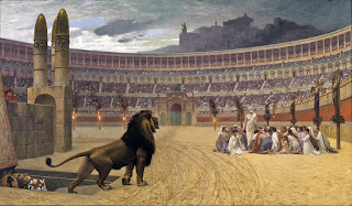Christians were frequently made to fight for their lives  against lions during the Diocletianic Persecution