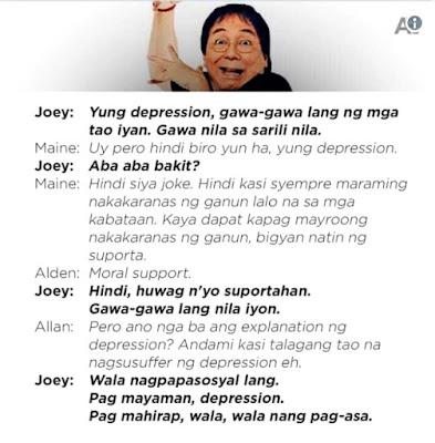 Joey de Leon's comment about depression