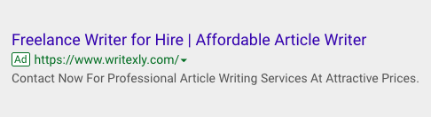 Google AdWords Sample Ad Copy, Sample Ad Copy For Freelance Writing Services, Freelance Writer Google Ad