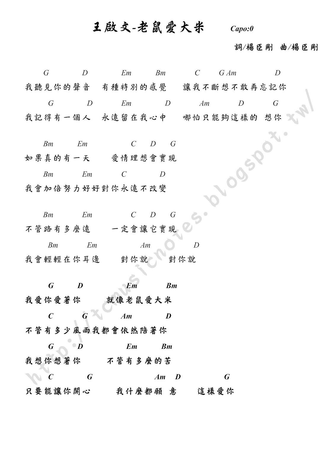 亭竹的音樂工作室: 王啟文-老鼠愛大米 吉他譜