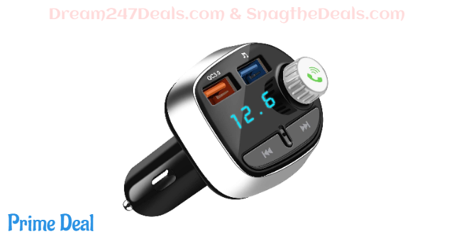 50%OFF Bluetooth 5.0 FM Transmitter for Car, ACLIN QC3.0 Wireless Bluetooth FM Radio Adapter