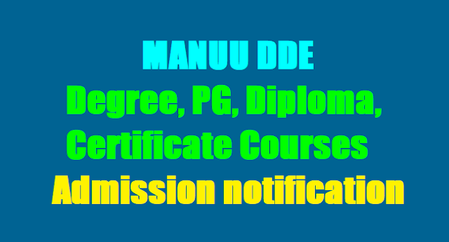 MANUU Distance DDE UG, PG, Diploma, Certificate Courses admission 2018 notification