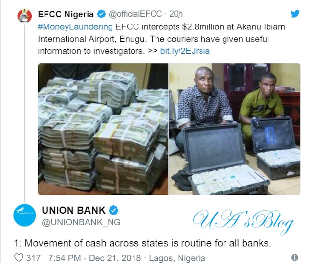 'It was a legitimate operation' — Union Bank explains $2.8m confiscated at Enugu Airport