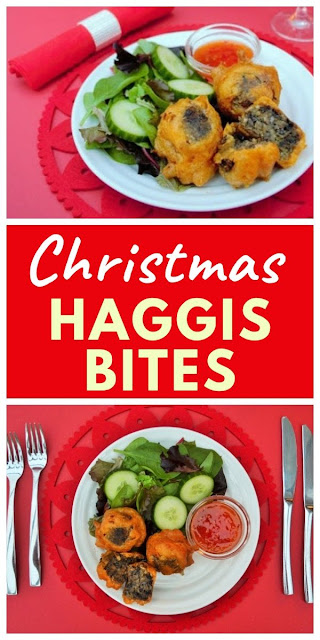 Vegan Beer Battered Haggis Bites. An easy Christmas starter or canape using shop-bought vegetarian haggis. #christmasstarter #veganchristmas #haggisrecipe #vegetarianhaggisrecipes #veganhaggisrecipes #haggis #beerbatter