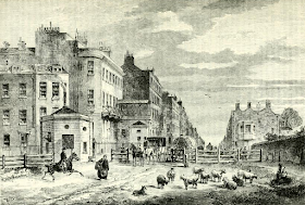 Tyburn Turnpike (1820) from Old and New London by E Walford (1878)