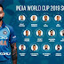 Indian squad for ICC World Cup 2019