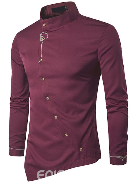 Stand Collar Iregular Quality Long Sleeve Men's Shirt