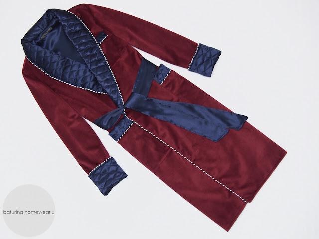mens velvet luxury dressing gown long warm burgundy navy blue dark red robe quilted silk lapel extra long heavy bathrobe english gentleman