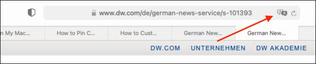 """انقر فوق الزر """"ترجمة"""" من شريط URL"""