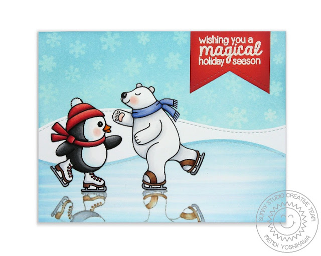Sunny Studio Stamps: Playful Polar Bears & Snow Kissed Penguin Ice Skating Christmas Card by Mendi Yoshikawa