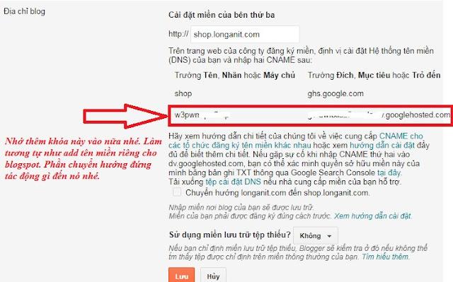 Hoàn thành add tên miền phụ vào cho blogspot