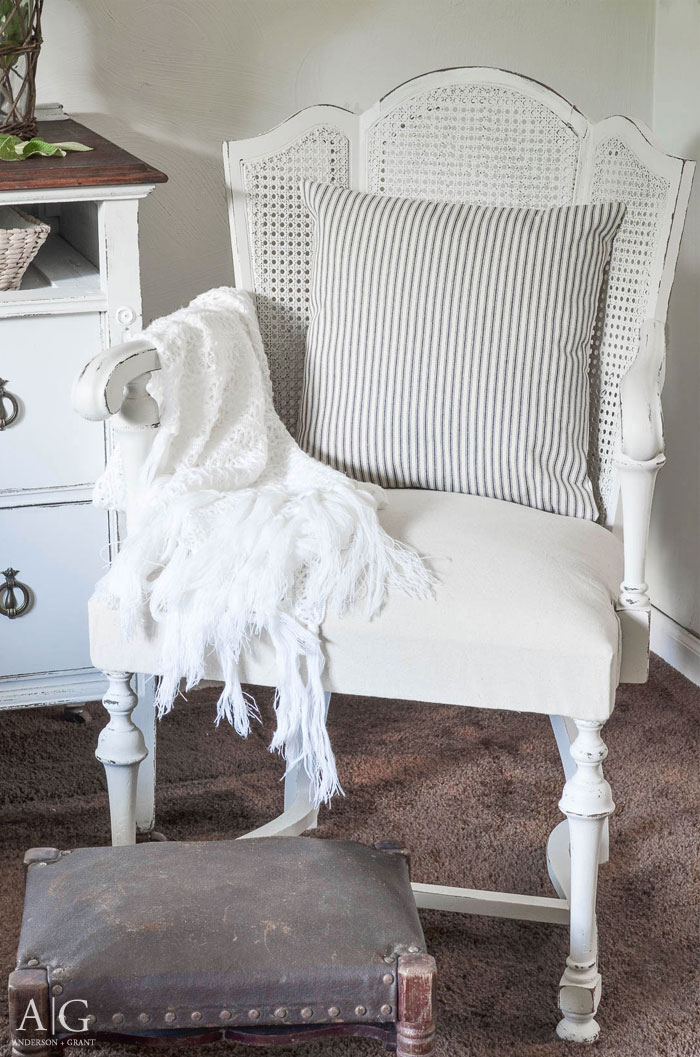 Vintage Cane Back Chair Gets A Farmhouse Style Makeover Anderson Grant