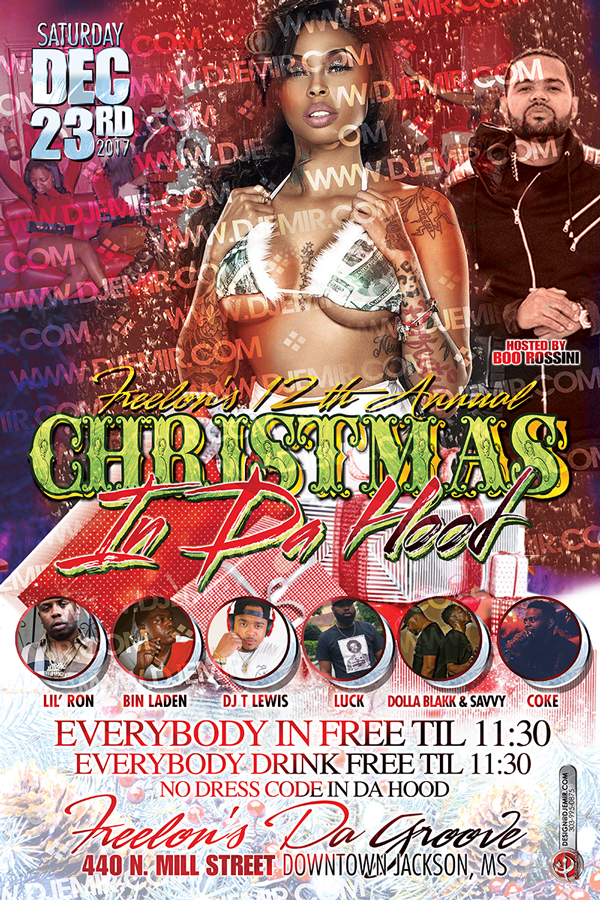 Christmas In Da Hood Flyer Design Back With Black Girl in Money Christmas Bikini xmas tree snow DJs Boo Rossini