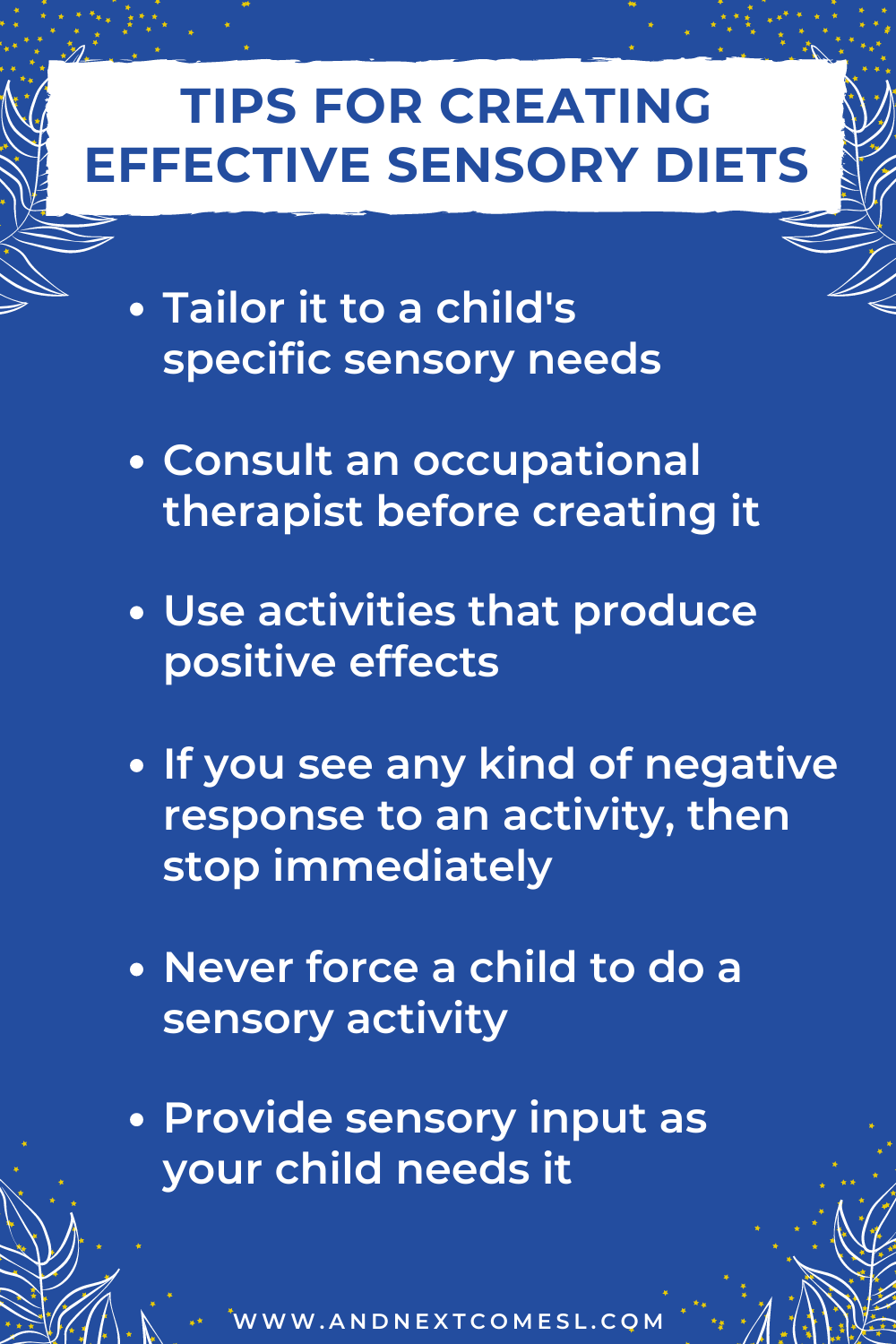 Tips for creating effective sensory diets for kids