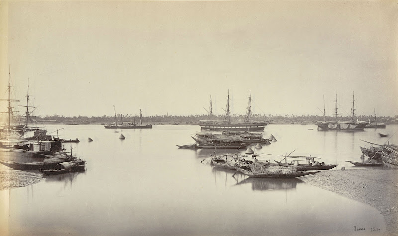 Shipping from Hastings Bridge [Calcutta], ship 'Bombay' & s.s. 'Mauritius' 1865