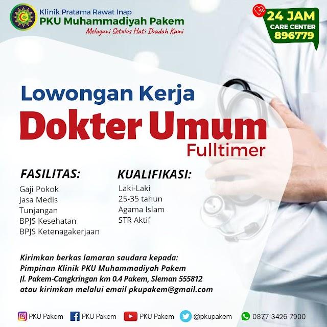 Loker Dokter Klinik Pratama Rawat Inap PKU Muhammadiyah Pakem, Yogyakarta