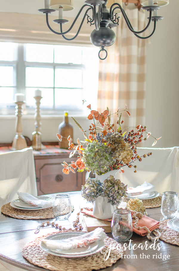 fall table with muted colors and soft textures