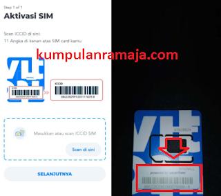 Scan atau masukan ICCID Sim Card