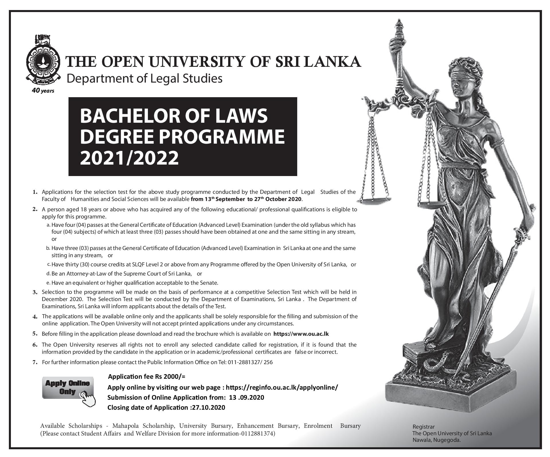 closing date LLB Degree Applications