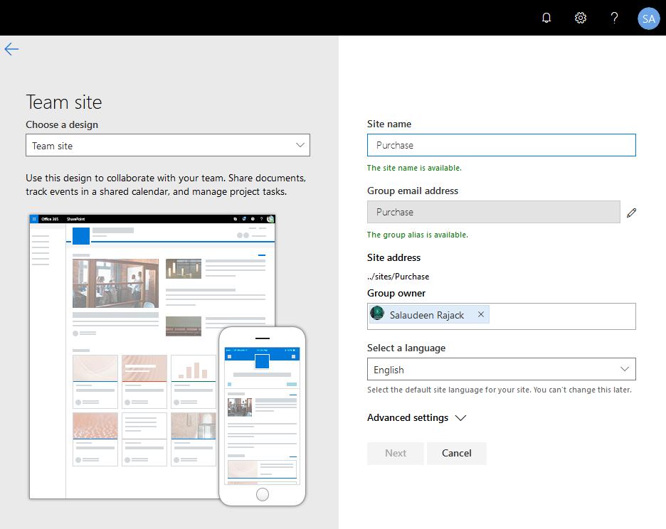 sharepoint online create modern team site powershell