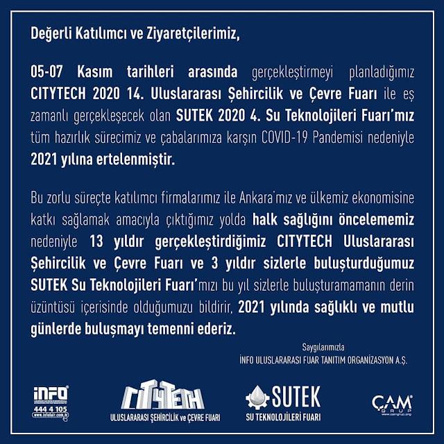 CityTech ve SuTek 2020 Fuarlarıİptal Oldu