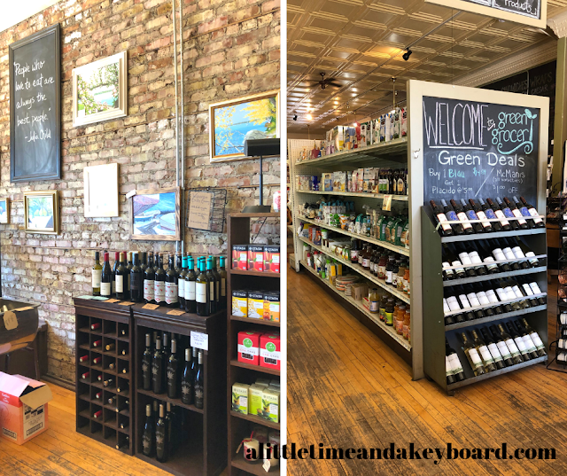 Enjoying gourmet finds at the Green Grocer in Williams Bay, Wisconsin
