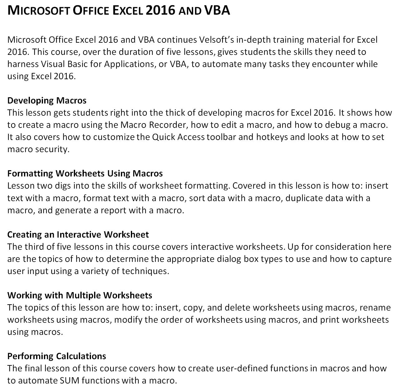 Mouse Training London Ltd: Microsoft Office - Excel VBA