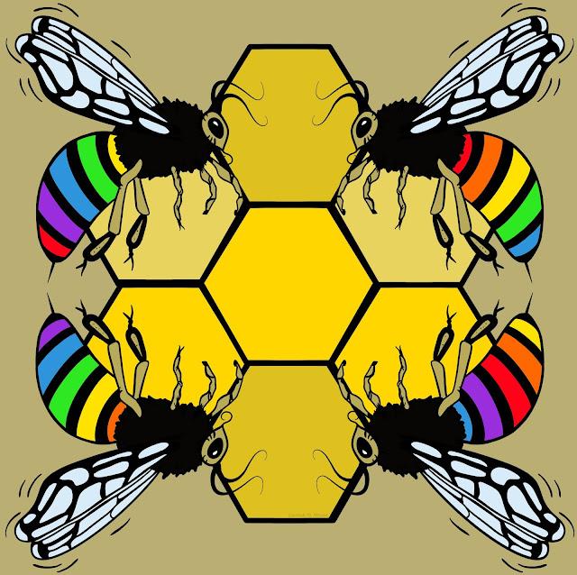 bee bees beekeeper art artwork rainbow