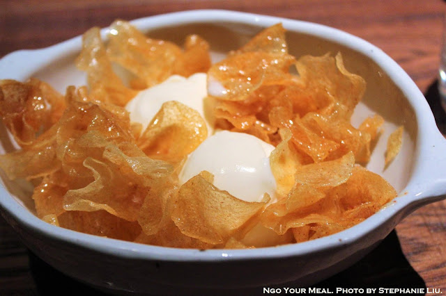 Honey Butter Chips with Vanilla Ice Cream at Oiji in New York City