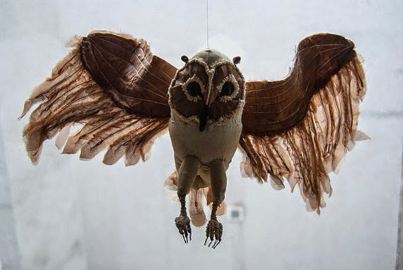 sculpture, bird, amimal, fabric, textile, owl