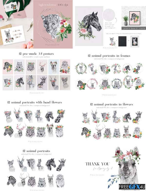 Watercolor Flowers And Animals