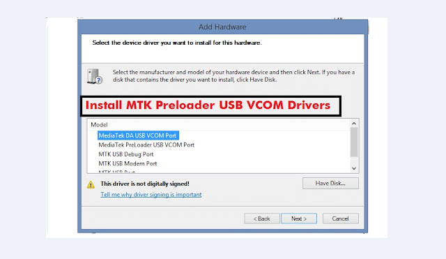 Download MediaTek USB VCOM drivers Download and Install