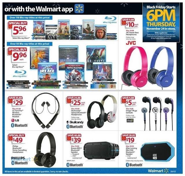 Walmart Black Friday Ad 2016, JVC Headphones, LG Bluetooth Headset and Philips Bluetooth Headphones