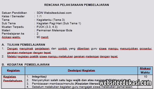 Rpp Pjok 1 Lembar Kelas 1 Tema 3 K13 Revisi 2020 Websiteedukasi Com