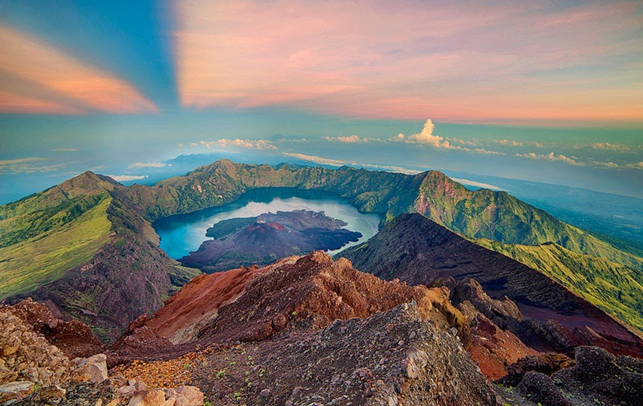 Sunrise summit of Mount Rinjani 3726 m