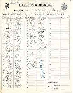 Planilla de la partida de ajedrez Miguel Artigas - Ulvestad en el Torneo de rápidas de Torá 1975