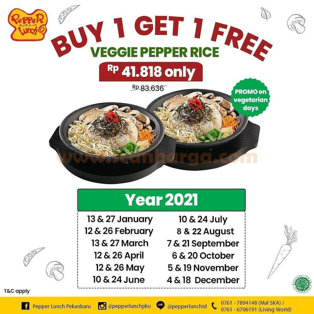 Pepper Lunch Promo Buy 1 Get 1 Free! untuk Veggie Pepper Rice hanya Rp 41.818