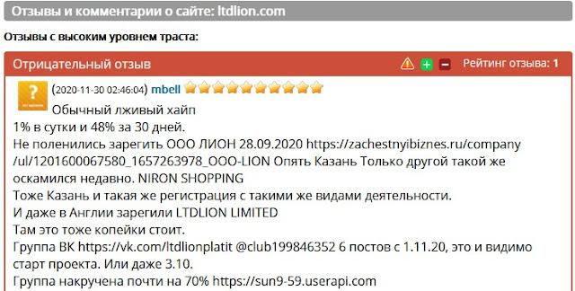 Отзывы и комментарии о сайте: ltdlion.com