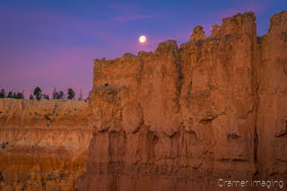 Cramer Imaging's fine art landscape photograph of a Bryce Canyon wall with the moon overhead in Utah