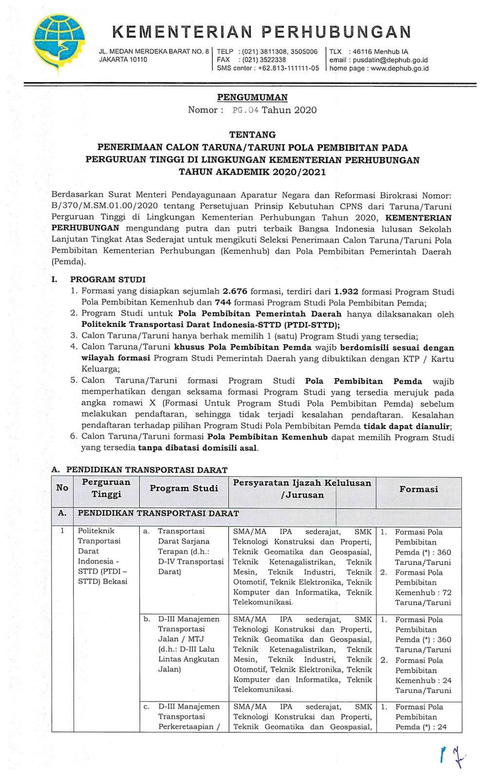 Penerimaan Sipencatar Kementerian Perhubungan Juni 2020 Sebanyak 2676 Formasi