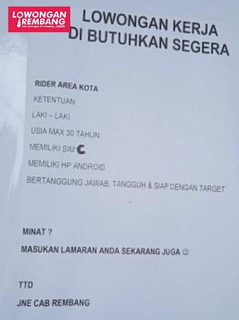 Lowongan Kerja Rider Ekspedisi JNE Cabang Rembang