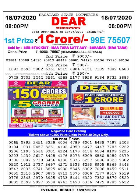 Nagaland State Lotteries 18-07-2020 Lottery Sambad Result 8:00 PM