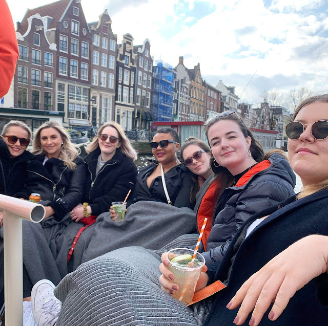 Group of girls on Amsterdam canal boat
