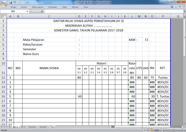 Contoh Format Rekap Daftar Nilai Pengetahuan dan Keterampilan MA Kurikulum 2013